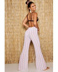 Boohoo - Pinstripe Mesh Beach Trousers - Lyst
