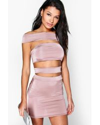 Boohoo - Off The Shoulder Strappy Co-ord Set - Lyst