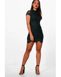 2e45e0dfe6cf Lyst - Boohoo Boutique Leah Eyelash Lace Curved Hem Bodycon Dress in ...