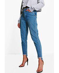 Boohoo - Displaced Pocket Step Hem Mom Jeans - Lyst