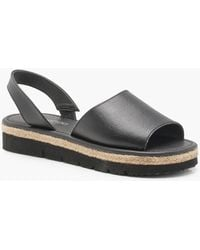 Boohoo - Jessica Peeptoe Two Part Cleated Leather Sandals - Lyst
