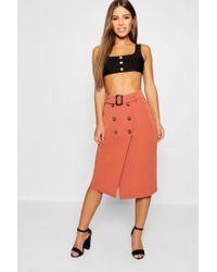 611845c94 Boohoo Pu Leather Look Tie Belt Midi Skirt in Brown - Lyst