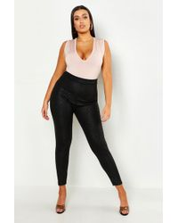 b80570011235 Lyst - Missguided Black Faux Leather Croc Print Trousers in Black