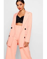 Boohoo - Double Breasted Suit Blazer - Lyst
