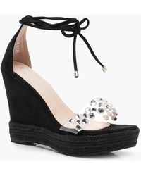 Boohoo - Clear Embellished Strap Wedges - Lyst