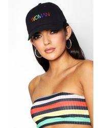 Boohoo - Lucy Rainbow Woman Slogan Embroidered Cap - Lyst