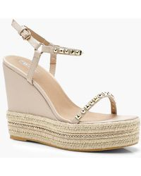 Boohoo - Two Part Studded Wedges - Lyst