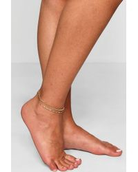 Boohoo - Dani Double Chain Layered Anklet - Lyst