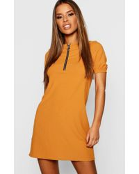009685c098 Boohoo - Petite Ribbed Zip Front T-shirt Dress - Lyst