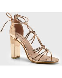 2afd2e89c88e Boohoo - Block Heel Multi Strap Sandals - Lyst