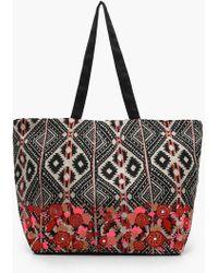 Boohoo - Embroidered Aztec Shoulder Bag - Lyst