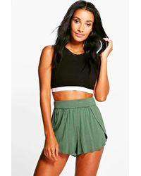 Boohoo - Lolah Wrap Over Jersey Shorts - Lyst