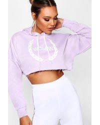 Boohoo - Woman Print Cropped Hoody - Lyst