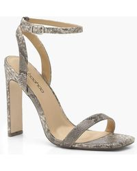 60c61429fd8 Lyst - Boohoo Cage Gladiator Heels in Natural