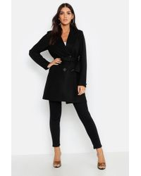 Boohoo - Double Breasted Belted Wool Look Coat - Lyst