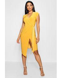 Boohoo - Wrap Front Midi Dress - Lyst