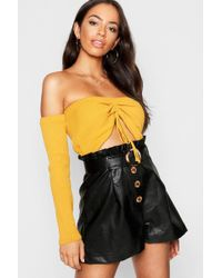 Boohoo - Leather Look Paper Bag Belted Pocket Shorts - Lyst
