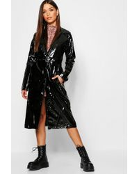 Boohoo - Patent Button Front Trench Coat - Lyst