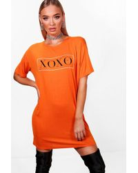 Boohoo | Emy Valentines Xoxo Sports Stripe T Shirt Dress | Lyst