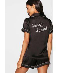 Boohoo - Brides Squad Satin Short Set - Lyst