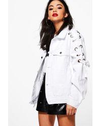 Boohoo - Lace Up+eyelet Oversize Denim Jacket - Lyst