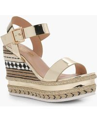Boohoo - Woven Detail Espadrille Wedges - Lyst