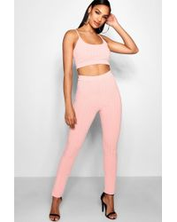 Boohoo - High Waisted Square Neck Knitted Lounge Set - Lyst