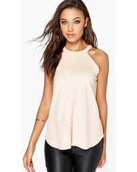 9c0f6704bad Lyst - Boohoo Tall High Neck Strap Top in White