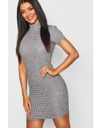 3162eec04ed Lyst - Boohoo Holly Dogtooth Long Sleeve Swing Dress in Black