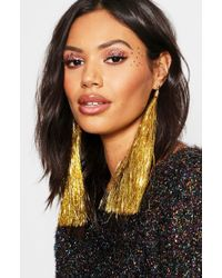 Boohoo - Gold Tinsel Tassel Earrings - Lyst
