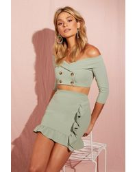 Boohoo - Double Breasted Crop + Ruffle Skirt Co-ord - Lyst