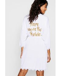 Boohoo - Here Comes The Bride Lace Detail Robe - Lyst
