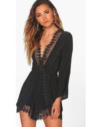 c81101e48062 Lyst - Boohoo Julie Crochet Insert Short Sleeve Playsuit in Black