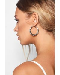 Boohoo - Textured Bamboo Effect Chunky Hoop Earrings - Lyst