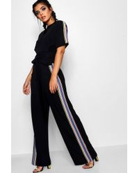 Boohoo - Tie T-shirt And Rainbow Stripe Co-ord - Lyst