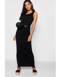 b6b18d021ae9 Boohoo Knot Front Ruffle Hem Maxi Dress in Black - Lyst