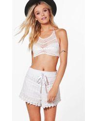 Boohoo - All Over Crochet Hotpants - Lyst