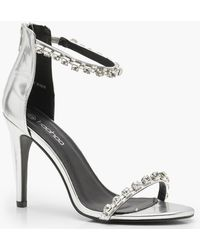 734b6411bf2 Lyst - Boohoo Clear Strap Wrap Ankle Block Heels in Metallic