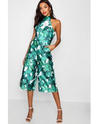 Boohoo - Premium Structured Palm Print Jumpsuit - Lyst