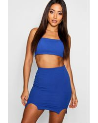 Boohoo - Tie Back Strap Square Neck Top + Mini Skirt Co-ord - Lyst