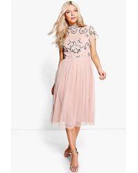 Boohoo - Boutique Embellished Midi Dress - Lyst