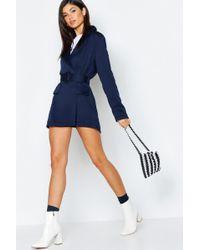 8dee41a73a74 Boohoo Horn Button Sleeveless Blazer Playsuit in Blue - Lyst