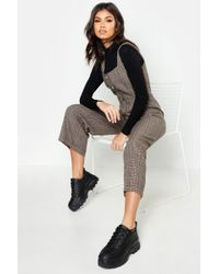 Boohoo - Check Button Pinafore Jumpsuit - Lyst