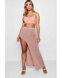 Boohoo - Plus Shimmer Extreme Hem Skirt - Lyst