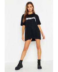 a6b25144bbc Boohoo - Metallica License Oversized T-shirt Dress - Lyst
