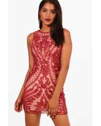 Boohoo - Boutique Embroided Bodycon Dress - Lyst