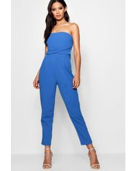 1e89963f462 Boohoo - Bandeau Tailored Woven Slim Fit Jumpsuit - Lyst