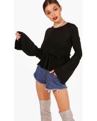 Boohoo | Jane Micro Ruffle Flare Sleeve Top | Lyst