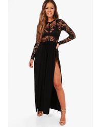 Boohoo | Petite Annabell Lace Panel Detail Maxi Dress | Lyst