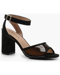 54380289491 Lyst - Boohoo Block Heel Clear Insert Heels in Metallic